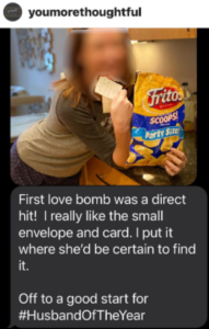 SMS message of a youmorethoughtful subscriber sharing an image of his wife finding a love note.